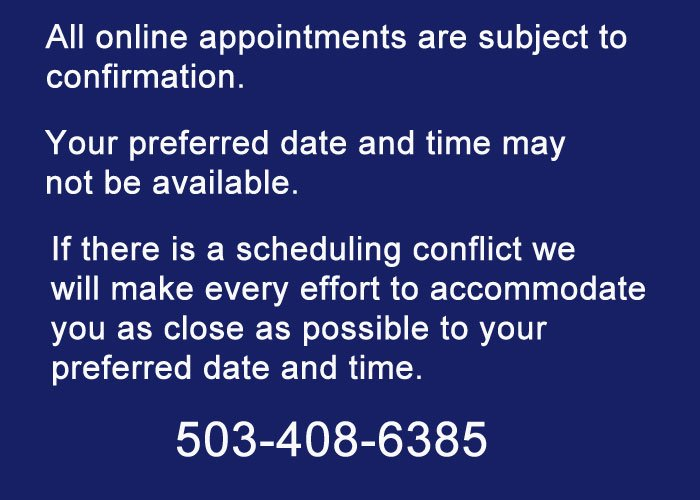 Scheduled Appointments Disclaimer